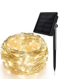 fil étoile rouge Promotion Fil de cuivre blanc chaud 20m imperméable à l'eau de 200LEDs dénude la ficelle solaire décorative extérieure de fête de Noël