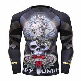 Wholesale mma shorts for men - Fashion Long Sleeves Men T-shirts 3D Prints Tight Skin Compression Shirts for Men MMA Rashguard Male Body Building Upper Fitness