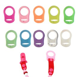 Wholesale Clip Nipple Rings - 10 Pcs Set Healthy Safetly BPA Free Baby Pacifier Clips Adapter Rings Silicone Pacifier Clips Nipple Clasps Soother Holder
