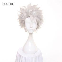 Wholesale short hair wigs fluffy synthetic - ccutoo Men's BLEACH Hitsugaya Toushirou Short Silver White Layered Fluffy Synthetic Cosplay Hair Wigs Heat Resistance Fiber