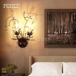 Wholesale candle light restaurant - crystal wall lamp wall lights sconce bedroom bedside lamp candle double for bedroom living room restaurant beside