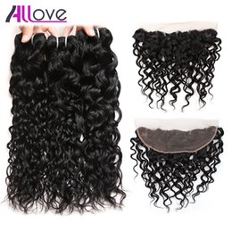 wet wavy hair 22 inches Promo Codes - Allove 8A Brazilian Virgin Hair Peruvian Water Wave 3pcs with Frontal Closure Wet and Wavy Malaysian Human Hair Indian Ocean Wave