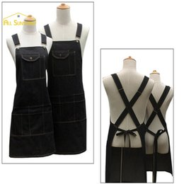 Wholesale Cooking Works - Wholesale-New Fashion Black Cotton Denim Funny Cooking Work With Pockets Strap cute Barber Cafe Restaurant Unisex Apron Tablier Cuisine