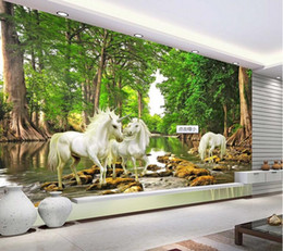 Wholesale Forest Wallpaper For Home - Custom 3D Mural European Myths Unicorn In The Forest River Photo Wallpaper Living Room Sofa Backdrop Wall Paper Home Decoration