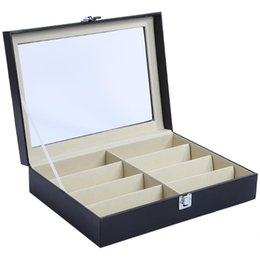 Wholesale Ring Display Case Storage - 8 Grids PU Leather Watch Case Storage Organizer Box Luxury Jewelry Ring Display Watch Boxes