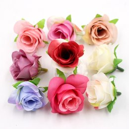 Wholesale Silk Mini Flower Heads - 10pcs mini silk rose flower head artificial flower wedding home decoration DIY wreath Scrapbooking Craft fake flowers decoration