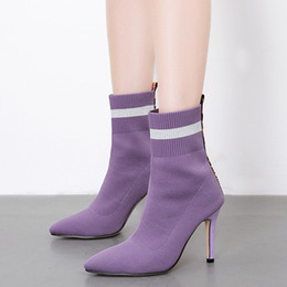 3265d0630d4 stiletto cowboy boots women 2019 - Light purple wool blend stocking boots  pointed toe high heel