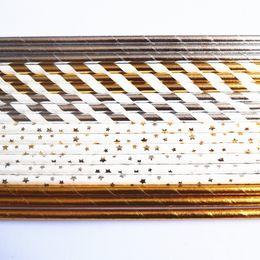 Wholesale silver paper straws - 1000pcs Random Paper Straws ,Metallic Gold Silver Foil Plain Stripe Star Paper Drinking Straws ,Wedding Party Christmas