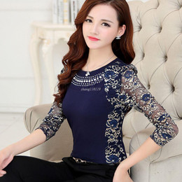 Wholesale Ladies Rhinestone Shirts - New 2018 High Quality Women's plus size lace blouse shirts ladies long sleeve slim Lace patchwork Tops for women 160F 20