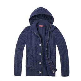 JANGOUL Abrigo de suéter de tweed en mezcla de lana Hombres Button-Front Chaqueta con textura de cierre completo Otoño Invierno Azul marino Cardigans macho 300 desde fabricantes