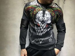 Wholesale Top Male Clothing - Colorful Rhinestone Indian Skull Casual Sweatshirts Men Brand Clothing Male Hoodies Men Fashion Tracksuit Printing Pullover Top Quality