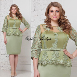 Wholesale Simple Blue Taffeta Dresses - Fashion mint Plus Size Peplum Mother of The Groom Bride Dresses with Sleeves 2018 Jewel Lace Stain Knee-length Mother Occasion Formal Dress