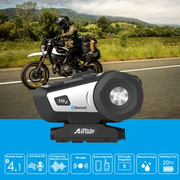 tanque de techo Rebajas AiRide G1 motocicleta casco intercom casco bluetooth auricular intercomunicador moto 10m interphone inalámbrico FM comando de voz
