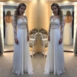 Wholesale romantic country style - 2018 Gorgeous Romantic Country Style Lace Chiffon Wedding Dresses Pleats Appliques Sheer Long Sleeves Bridal Gowns Cheap Summer Vestidos