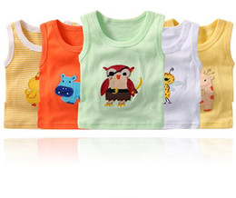 Wholesale Sleeveless Shirts Toddler Boys - 5 Pack Baby Vest T-shirt 2018 Summer Clothes Boys and Girls Tops 100% Cotton Animal Embroidery Infant Toddler Tops Vest Baby Clothes