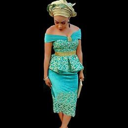 Wholesale Coral Ribbon - 2018 New Green Off Shoulder Gold Lace Satin African Nigerian Peplum Evening Dress Tea-Length Sheath Women Evening Formal Gowns Vestidos