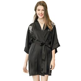Le cameriere di seta delle signore lungamente online-UNLIMON Womens Sexy Kimono Robe Stain Accappatoio Lungo camicia da notte Mezza manica Ladies Housecoat Abiti da damigella d'onore Pigiama di seta