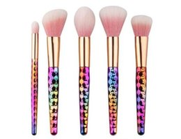 Wholesale Threading Tools - 5Pcs set Thread Makeup Brushes Set Rainbow  Rose Gold Cosmetic Mermaid Tail Oval Brush Make up Tool Kit Scales Horn Collection DHL Free