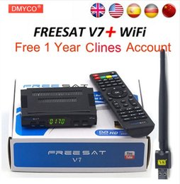 Wholesale Hd Dvb - [Genuine] Freesat Satellite TV Receiver decoder Freesat V7 HD DVB-S2 + USB Wfi with 7 lines Europe C-line account support powervu Receptor