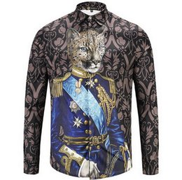 Wholesale Leisure Wear For Men - Leisure Shirt Man Print Royal Pet Portrait Long Sleeves Shirt For Male 2018 Fashion Show Wear