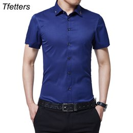 Wholesale Thin Sleeve For Dresses - TFETTERS Brand New Summer Men Tuxedo Shirt Solid Color Turn Down Collar Short Sleeve Shirt Thin Style Party for Men Clothe