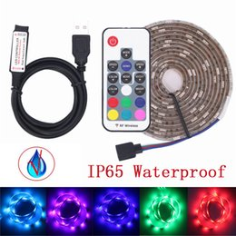 luce di striscia principale ip65 1m Sconti USB LED Strip Light 5050 RGB 1M 2M IP65 Impermeabile TV Illuminazione di sfondo LED Strip 5050 con controller RGB