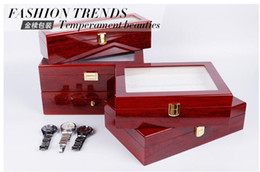 Wholesale Jewelry Box Glass Top - 6 Slots Grid PU red wooden Watch Boxes Casket Display Box Jewelry Storage Organizer Case locked Watch With Glass Top Winder
