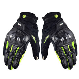 Защита экрана онлайн-Men's ST-12 Air Leather Motorcycle Racing Gloves Carbon Fiber Knuckle Protection Gear Touch Screen Motocross Gloves