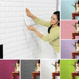 Wholesale Brick Wallpaper Sticker - Creative 3D Wallpaper PE Foam DIY Wall Stickers Home Decoration Wall Decor Embossed Brick Stone Living Room Bedroom Background