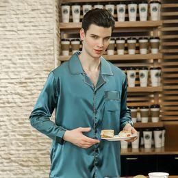 7f7b2afca1 High Quality Men Pajama Set 2018 New Fashion Male Pyjamas Full Sleeves Long Pants  Satin Silk Pajamas Soft Silky Sleepwear
