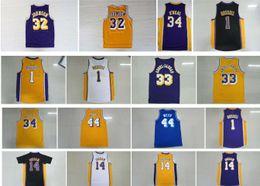 Wholesale brandon shirts - Retro Shirt 1 D Angelo Russell 44 Jerry West 14 Brandon Ingram 34 Shaquille O Neal 44 Jerry West 33 Kareem Abdul Jabbar Throwback Jersey