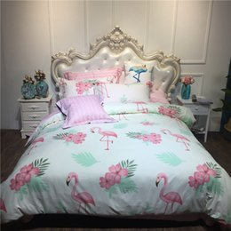 Wholesale fitted bedspreads twin - 100% Cotton Flamingo Dovet Cover Set Pillow Shams 3 4PC Twin Full Queen King Size Bedspreads Flat Fitted Sheet