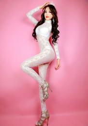 Disfraz de unitard blanco online-Tamaño adulto Unisex Sexy encaje blanco de cuerpo completo Zentai traje de Catsuit Leotardo de Unitard No Hood Hands