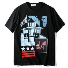 Wholesale Clothes Fashion Flag - fashion designer luxury brand clothing t-shirt men print flag patchwork short sleeve cotton casual tshirt tee tops round neck shirt shirts