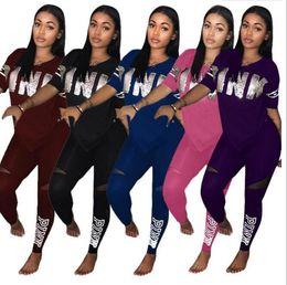 Wholesale Racing Shirts - PINK Letter Women Sports Suits Pants T-Shirts Short Sleeve V-neck Sets Print Sequins Tees Tops Shirts Trousers Leggings S-XXXL 5 Color PB ME