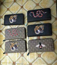 Wholesale leather men wallet pattern - Fashion Men Womens PU Genuine Leather Purses famous brand Long Single Zipper wallets printing Animal pattern purse wallets clutch Bags