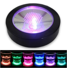 Wholesale Led Bottle Coasters - LED Light Bottle Cup Mat Coaster Wine Bottle Light Coaster LED Glowing Cup Mat White Club Bar Decoration Mat CCA8861 120pcs