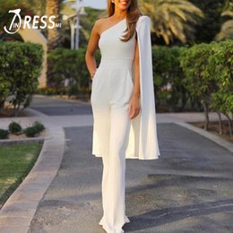 05434cfe4101 INDRESSME Women Runway Jumpsuits One Shoulder Batwing Sleeve Romper  Jumpsuit Sexy Bodycon Bodysuit Party Summer Hot 2018