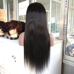 2019 parrucche di merletto di struttura viziosa Parrucca piena del merletto dei capelli brasiliani 100% brasiliani di sguardo di colore naturale di 22 pollici parrucca piena del merletto del pizzo di colore completo dei capelli umani di 1B lungamente