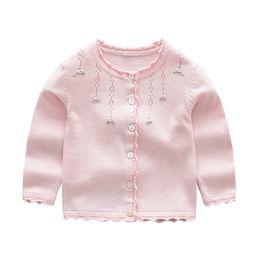 Дети розовые весенние пальто онлайн-Новорожденные девочки Кардиган Пальто Детский свитер Пуловер Весна Осень с длинным рукавом вязать школьница розовый красный серый свитер
