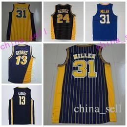 Wholesale color quick - New 31 Reggie Miller Throwback Uniforms Navy BLue White Yellow Black Color 13 Reggie Miller Jersey 24 Shirt Rev 30 New Material Men S-3XL