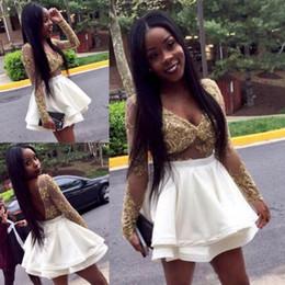 2019 vestido coral pieza 15 Vestidos de coctel africanos de dos piezas mangas largas escarpadas apliques de oro sin espalda Mini vestidos de baile dulce 15 graduación de regreso al hogar vestido coral pieza 15 baratos