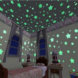 Wholesale Tattoos For Wall - Hot Illuminate Wall Stickers Baby Kids Bedroom Decor Bright Stars Of Fluorescent Color Tattoos Wall Stickers 100 Pieces
