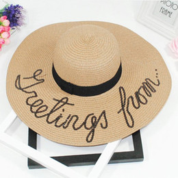 big blocks Promo Codes - Summer Big Wide Brim Straw Hat caps Letter Embroidery visor Beach Hat foldable sun hats for women block UV panama hats 2018 &2