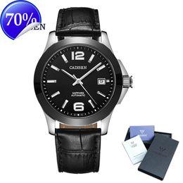 Wholesale Skeleton Date Automatic Mens Watch - Cadisen Watches Classic Mens AUTO Date automatic Mechanical Watch Analog Skeleton Black Leather Man black ceramic Wristwatch