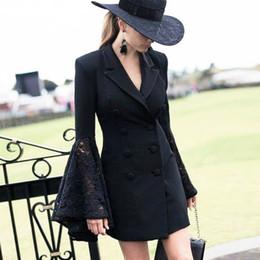 cc6e74e89402 tuxedo jacket women long 2019 - Spring Autumn Lapel Collar Lady Slim Blazer  Flower Lace Hook