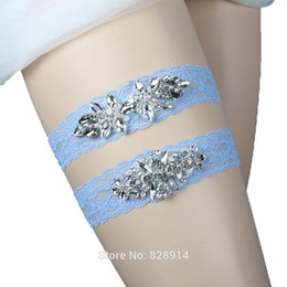 conjuntos de ligas de boda Rebajas Lowosaiwor Factory Wholesale Blue Stretched Lace Wedding Garter Set Nupcial Liga Set Hecho a mano Leg Belt IBF10063