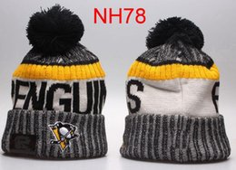 Wholesale Penguin Hat Adult - 2017 Newest Hot Sale Ice Hockey Cap PENGUINS Winter Beanie Hats For Men Knitted Blues Flyers Beanies Warm Caps Drop Ship
