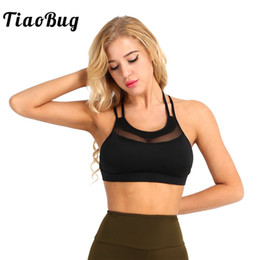 e53fbd74bf0773 TiaoBug Summer Women Pad Halter Top Bra Low Impact Support Cross-Strap Mesh  Splice Ventilated Fitness Women Cami Tank Crop Top affordable black mesh  halter ...