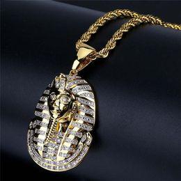 Египетские золотые прелести онлайн-Новое прибытие хип-хоп ювелирные изделия со льдом египетский фараон ожерелье Циркон Шарм золотая цепь для мужчин